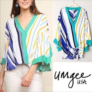 Umgee Multicolored Stripe Flutter Sleeve Top Large